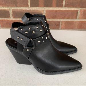 Qupid Black Chucky Heel Slingback Ankle Booties